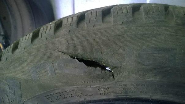 Повреждение автомобильной шины
